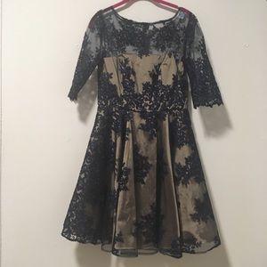 Monique Lhuiller Nude Blue Embroidered Dress 8